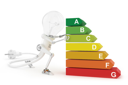 Energy efficiency rating and robot lamp photo