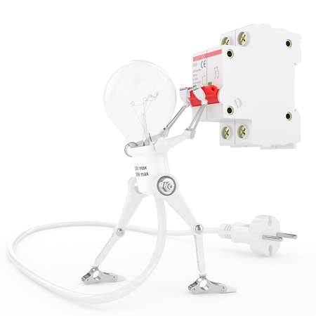 Robot lamp turn on an electric breaker Stock Photo - 23932592