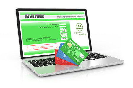 Internet banking service  Laptop and credit cards photo