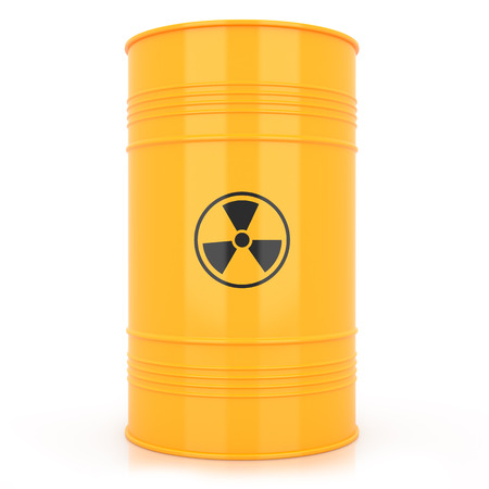 barrel radioactive waste: Yellow barrel with radioactive waste