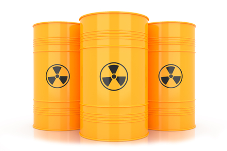 hazardous metals: Yellow barrels with radioactive waste