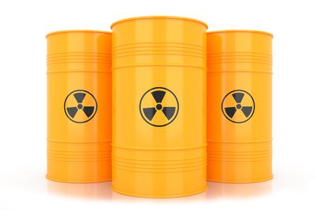radioactive waste: Yellow barrels with radioactive waste