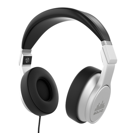 Silver musical headphones