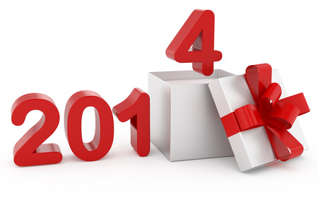 xmax: New Year title 2014 and silver gift Stock Photo