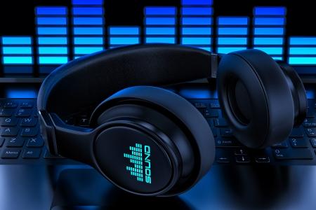 Casque audio sur ordinateur portable d'enregistrement
