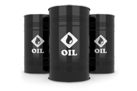 toxic barrels: Black oil barrels Stock Photo