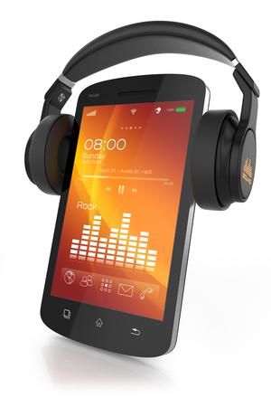 Modern headphones on musical smartphone photo