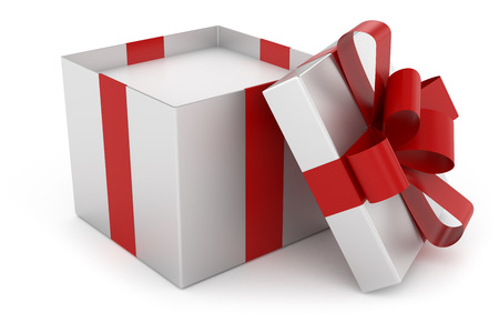 open gift: Open cap of silver gift box