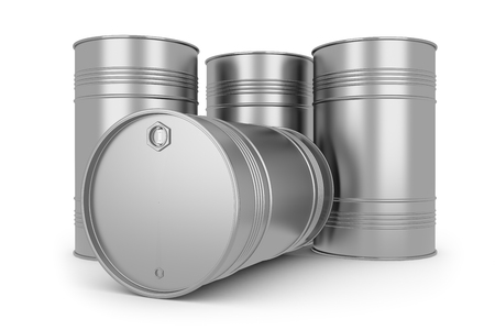 oil barrel: Steel silver oil barrels Stock Photo