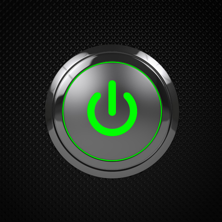 green power: Green LED power button on black background  Stock Photo