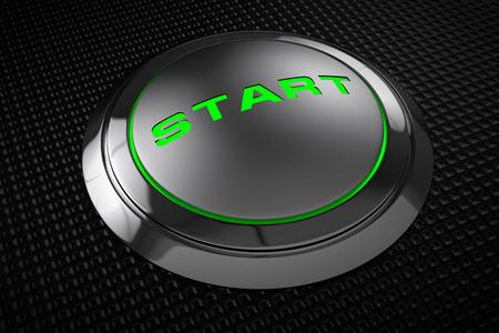 Green LED start button on black background  photo