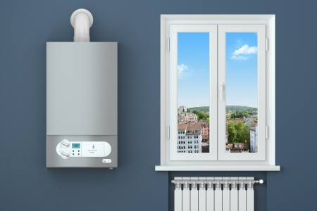 radiador: Casa de calefacci�n de gas de la caldera, ventanas, radiadores de calefacci�n Foto de archivo
