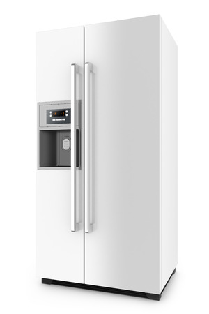 White fridge with side-by-side door system isolated on white background