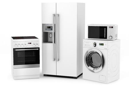 Groep van huishoudelijke apparaten op een witte achtergrond