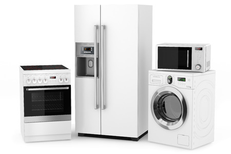 fridge: Group of household appliances on a white background