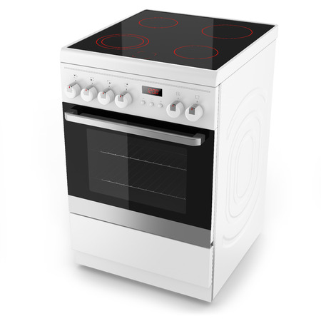 electric stove: Modern white electrical cooker isolated on white with clipping path