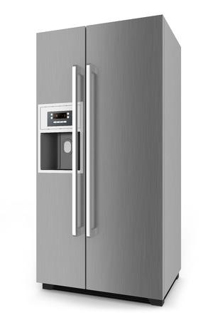 白い背景で隔離されたサイド バイ サイド扉システムと銀の冷蔵庫