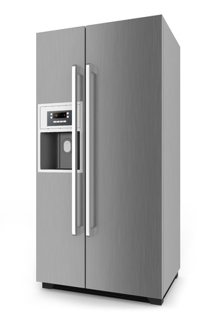 refrigerator with food: Silver fridge with side-by-side door system isolated on white background