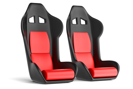 Sport driver leather seats isolated on white  photo