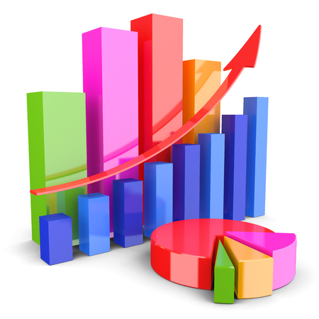 bookkeeping: Graphs of financial analysis Stock Photo