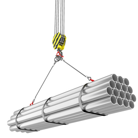 balk: Crane hook lifting of steel pipes Stock Photo