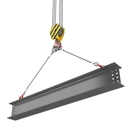 Crane hook lifting of steel beam Фото со стока