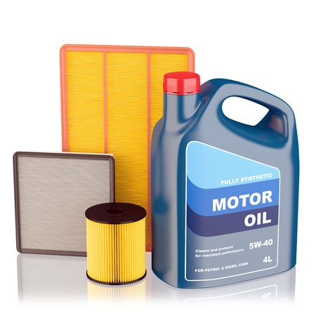 canister: Motor oil filters and plastic canister