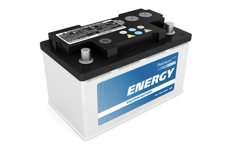 bateria: Batería de coche aislado sobre fondo blanco Foto de archivo