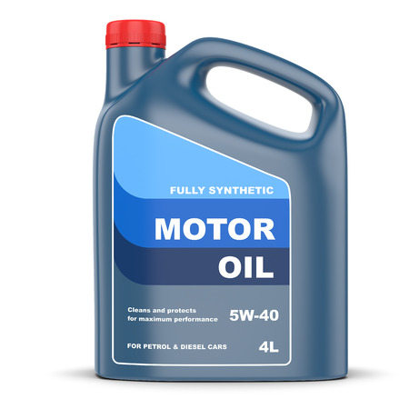 oil can: Motor oil plastic canister Stock Photo