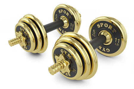 Golden dumbells isolated on white background photo