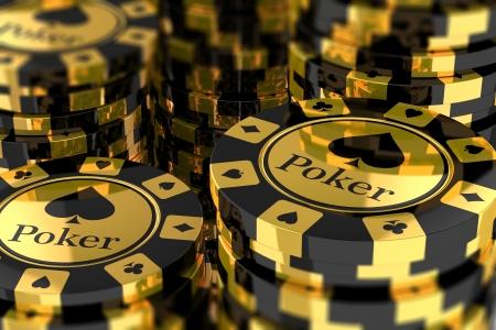 金のポーカー用のチップのグループ 写真素材