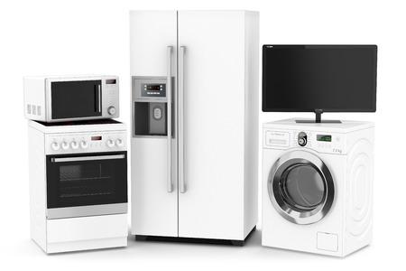 spotřebič: Sada techniky pro domácnost na bílém pozadí