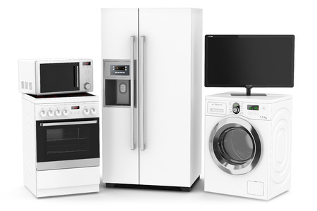 home appliance: Set of household technics isolated on white background