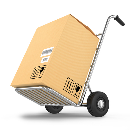 Delivery package on a cart isolated on white background photo