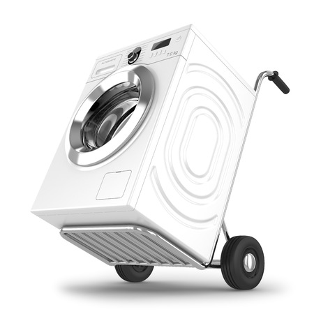 Delivery of washing machine  Isolated on white background photo