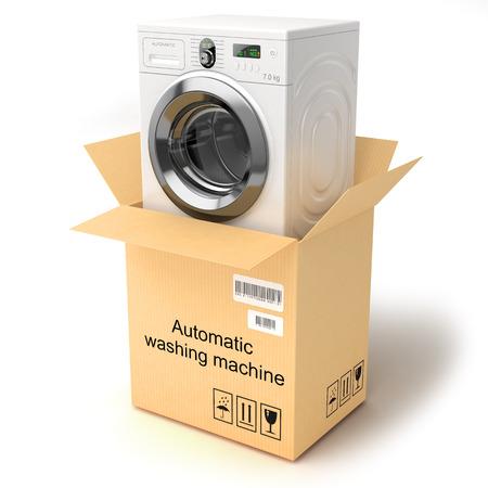 porter house: Unpacking the washing machine  Isolated on white background Stock Photo