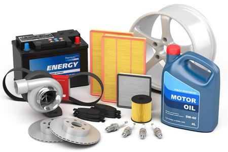 Set van auto-onderdelen op een witte achtergrond Stockfoto