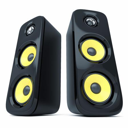 speaker system: Modern power sound speakers isolated on white background