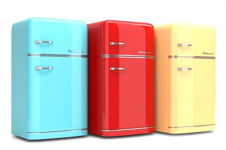 Refrigeradores retros aislados sobre fondo blanco Foto de archivo - 26162396