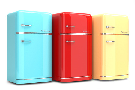 Retro refrigerators isolated on white background photo