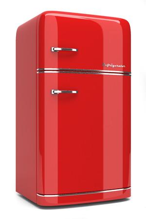 comida rica: Refrigerador retro aislado sobre fondo blanco