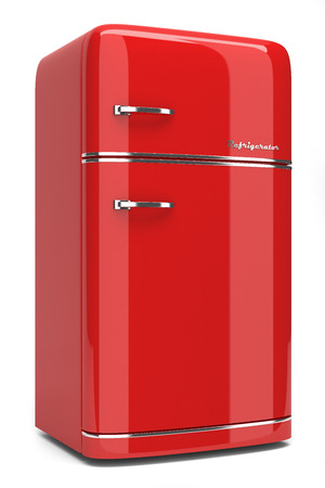 Retro refrigerator isolated on white background photo