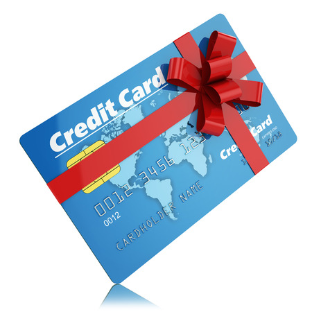 Gift credit card isolated on white background photo