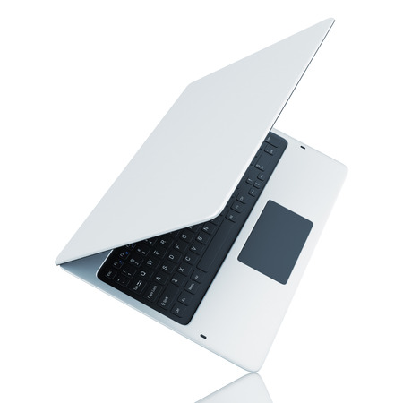 laptop repair: Turn modern laptop isolated on white background Stock Photo