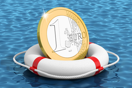 Euro coin on the water lifebuoy photo