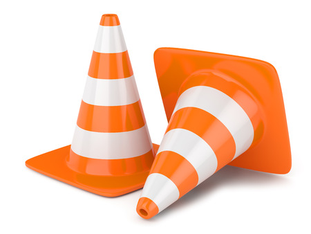 Traffic cones isolated on white background photo