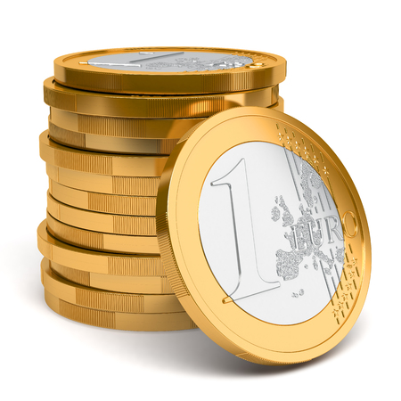 gold and silver coins: Stack of Euro coins isolated on white background