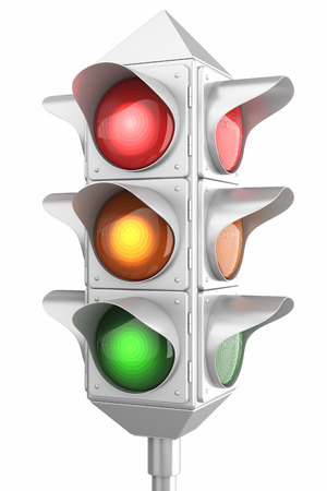 traffic rules: Retro traffic lights isolated on white background Stock Photo