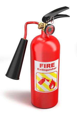 incendio casa: Extintor de fuego de color rojo aisladas sobre fondo blanco Foto de archivo
