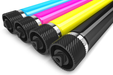 Printer CMYK rollers isolated on white background photo